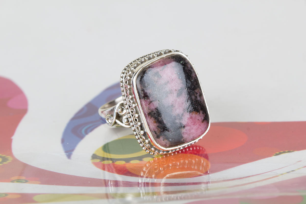 Awesome Handmade Rhodonite Gemstone 925 Silver Ring All Size
