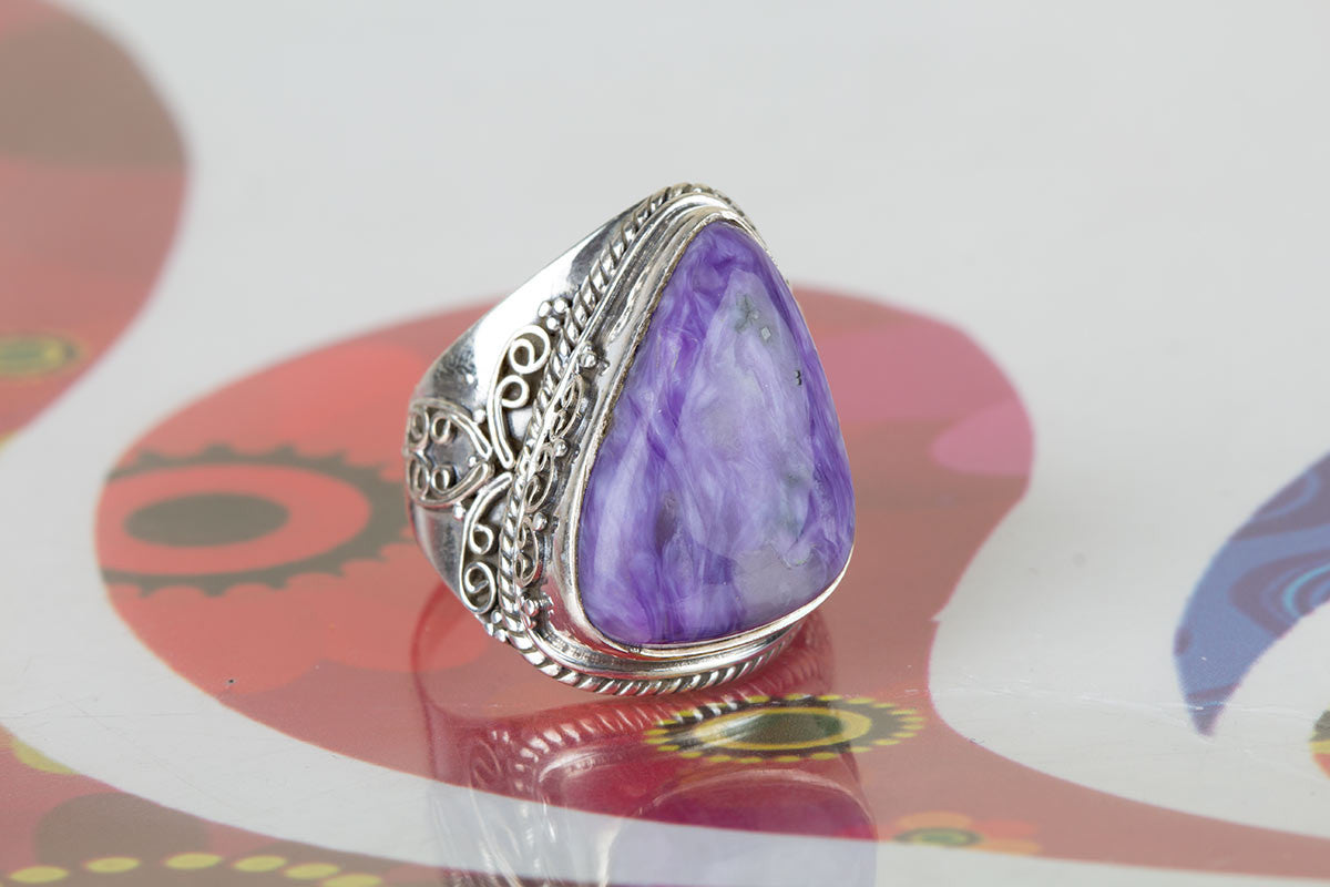 Amazing 925 Sterling Silver Charoite Gemstone Ring