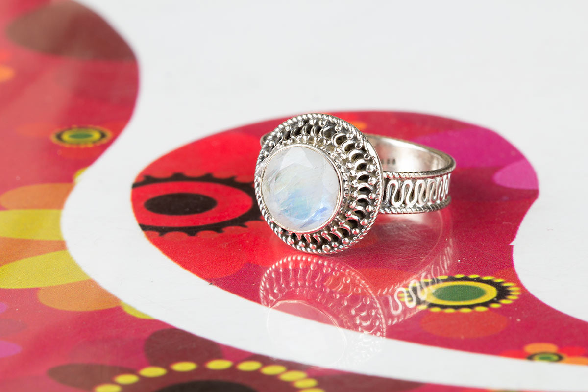 Awesome Handmade Faceted Rainbow Moonstone Gemstone 925 Silver Ring All Size