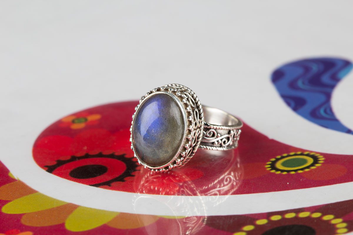 Precious Blue Fiery Labradorite Ring For Sale