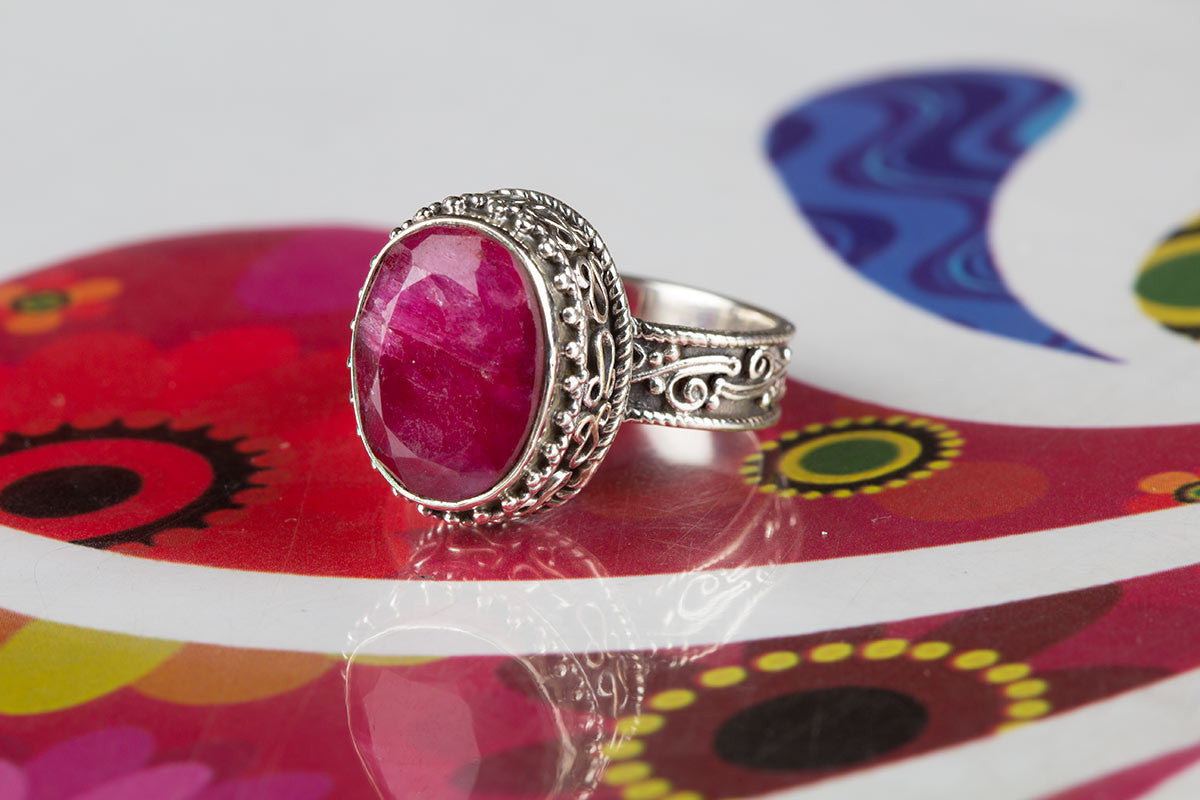 Extraordinary Sterling Silver And Ruby Ring For Sale