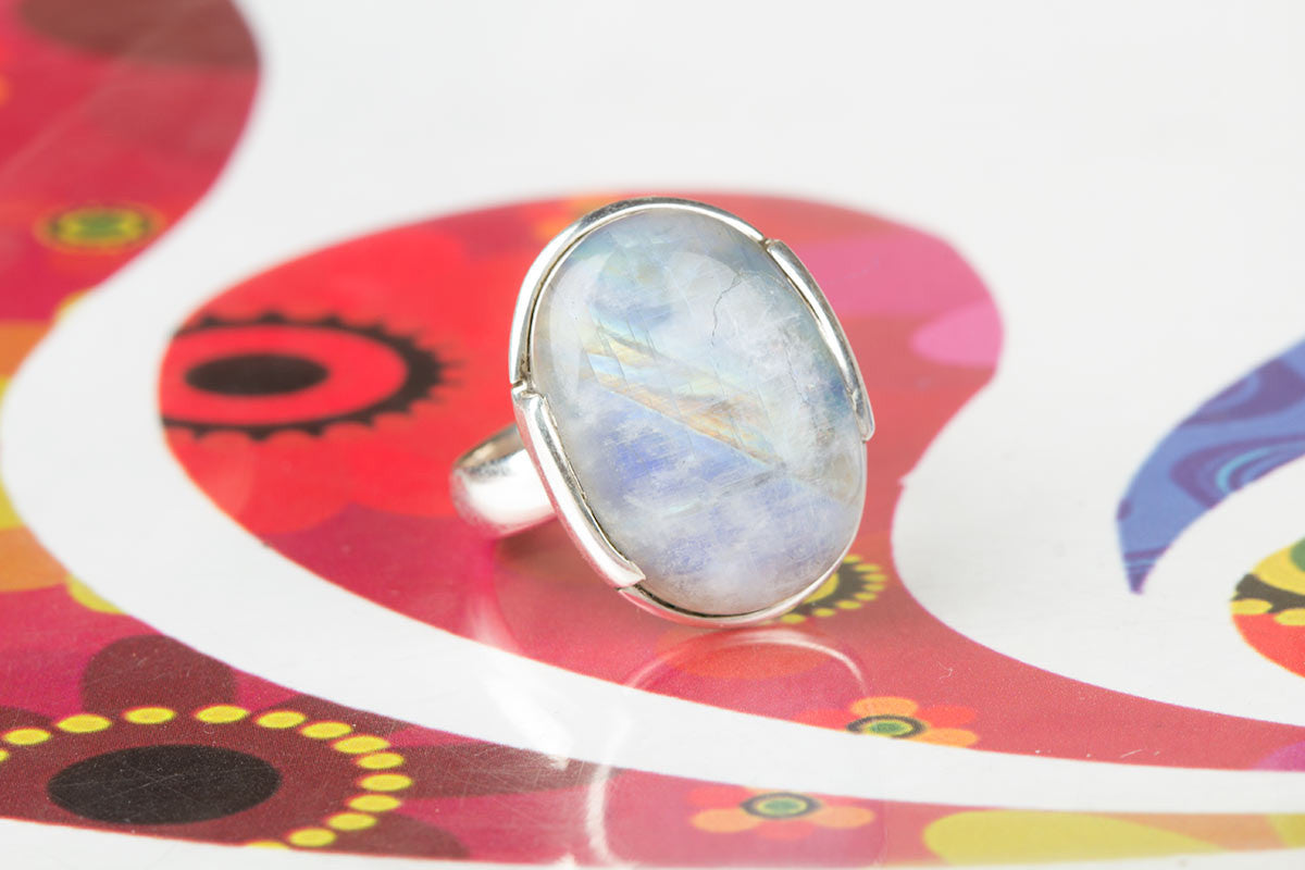 Rainbow Moonstone Silver Ring At Discount Prices