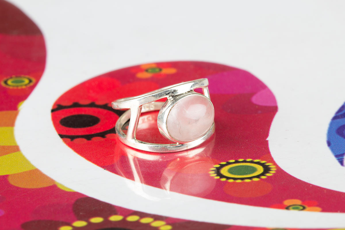 Exclusive Pink Rose Quartz Ring In Sterling Silver