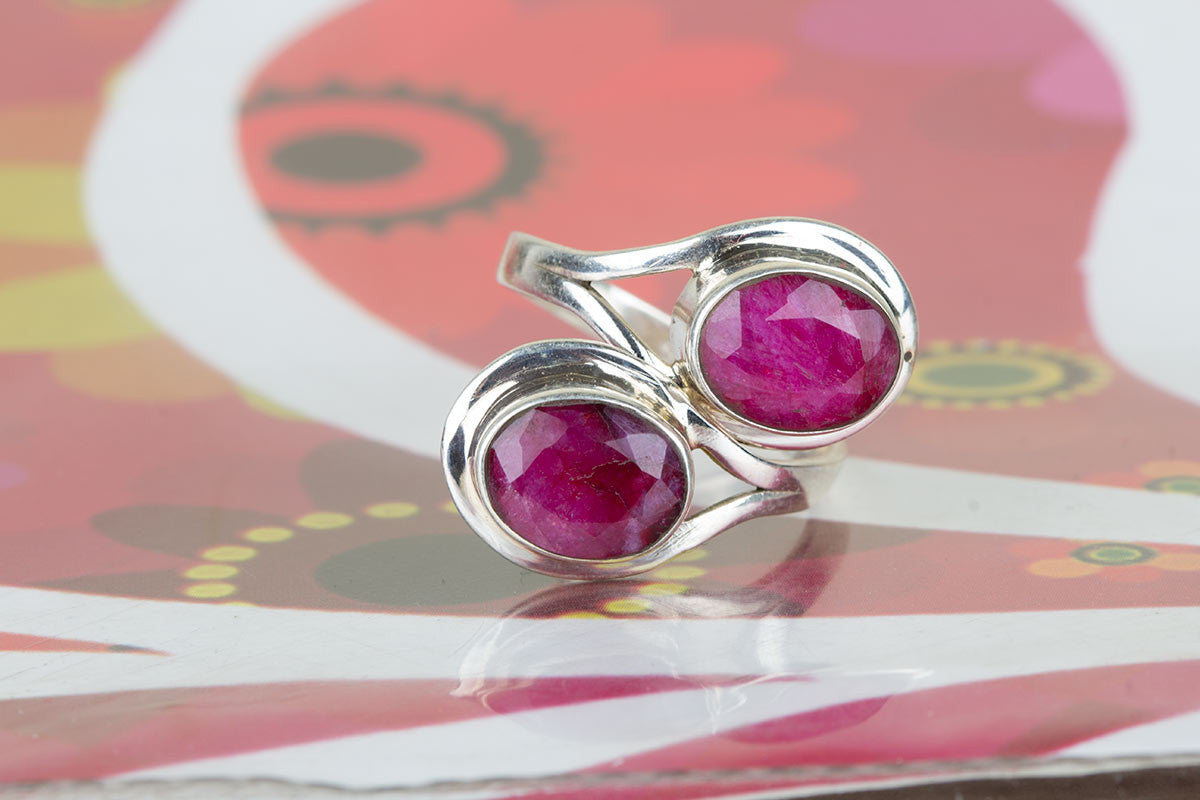 Amazing Sterling Silver Ruby Jewellery Ring