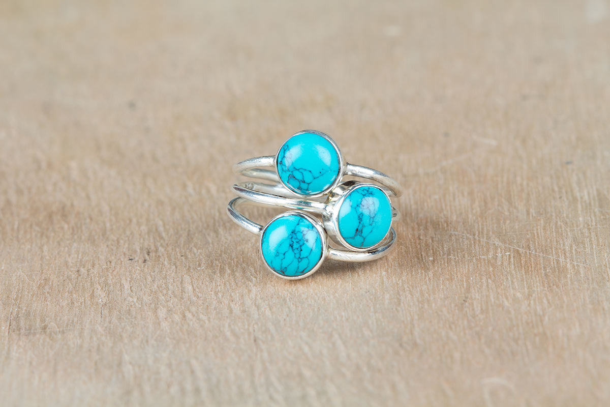 Turquoise Ring, Pure 925 Sterling Silver Ring, Boho Ring, Gypsy Ring, Healing Ring, Statement Ring, Three Stone Ring, Round Stone Ring