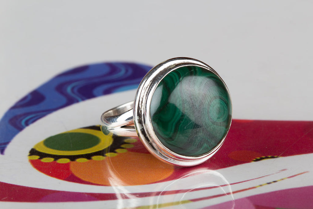 New Handmade Malachite Gem Artisan Green Ring