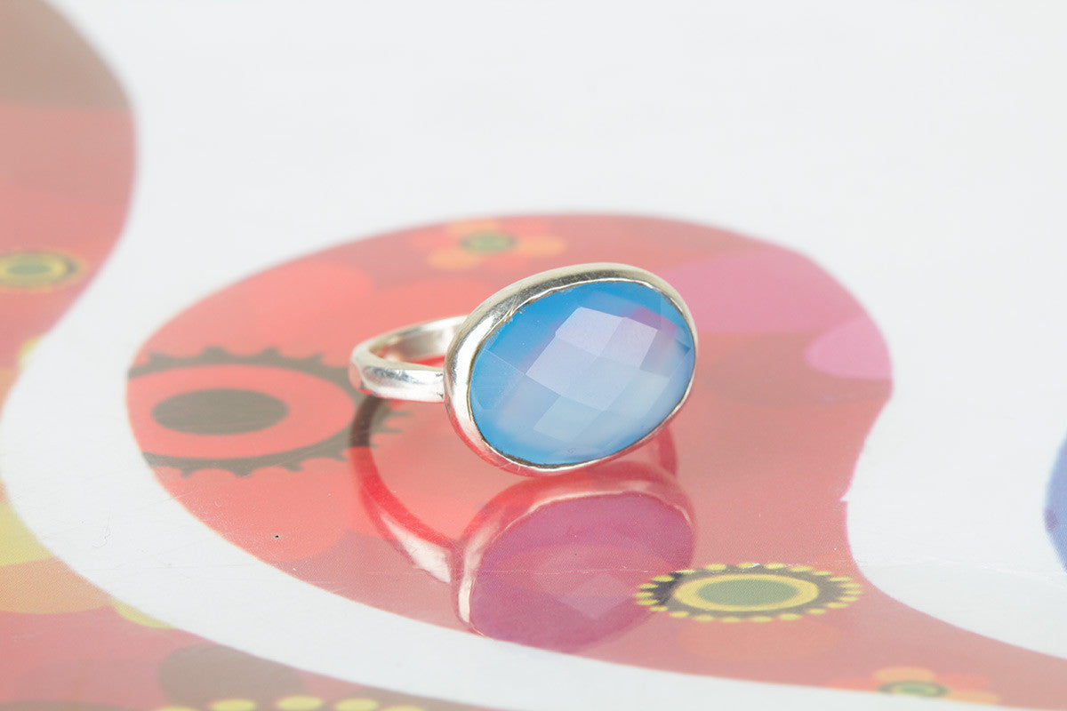 Awesome Handmade Faceted Blue Chalcedony Gemstone 925 Silver Ring All Size
