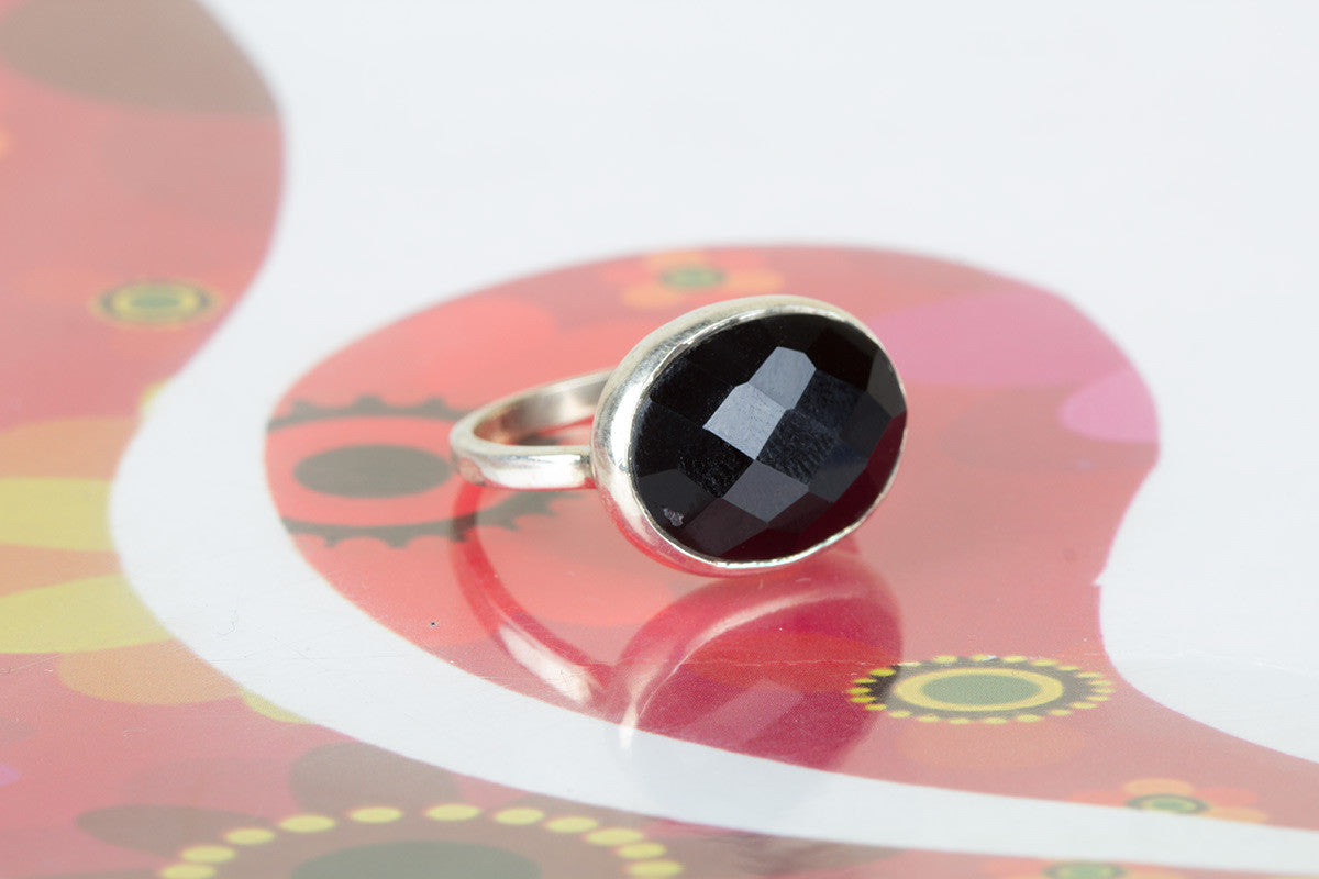 Amazing Handmade Faceted Black Onyx Gemstone 925 Silver Ring All Size
