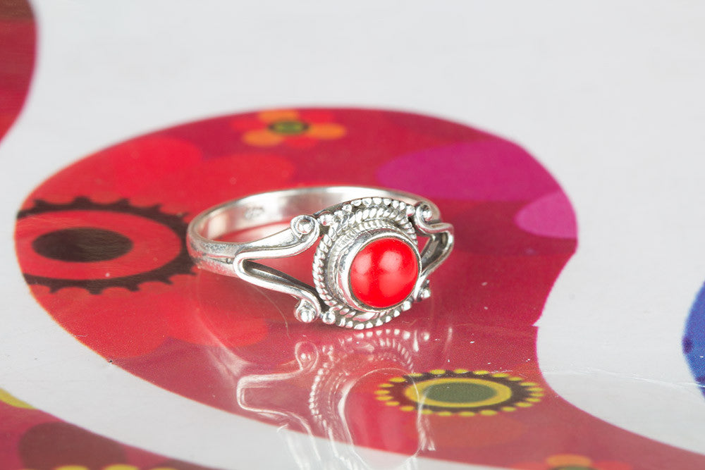Beautiful Silver Coral Gemstone Ring