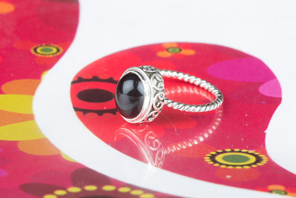 Beautiful Black Onyx Gemstone Silver Ring