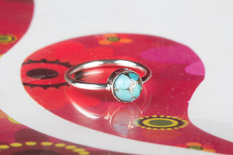 Round Shape Blue Copper Turquoise Silver Ring