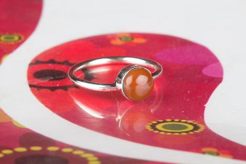 Round Carnelian Silver Ring