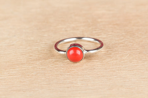 Simple Coral 925 Silver Ring