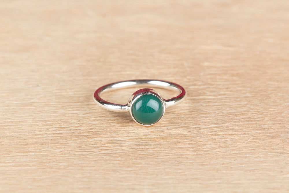 Solid Green Onyx 925 Silver Ring
