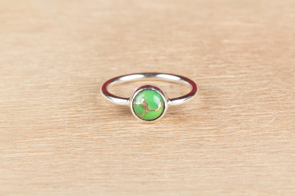 Rare Green Tuquoise 925 Silver Ring