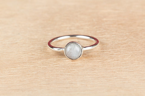 Simple Rainbow Moonstone Silver Ring