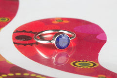 Round Shape Sapphire 925 Silver Ring