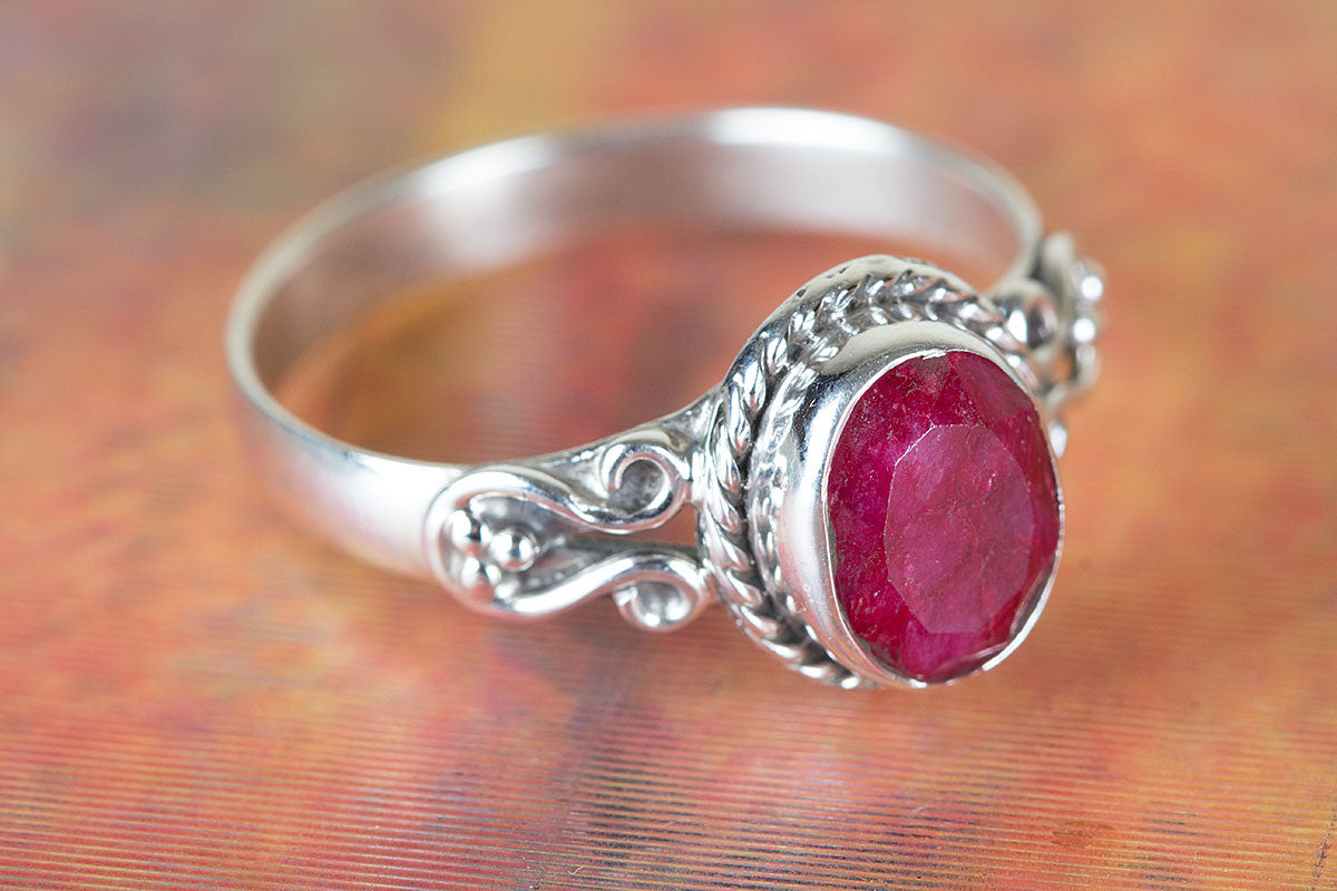 Ruby Ring, Pure 925 Sterling Silver Ring, Handmade Eternity Ring, Statement Ring, July Birthstone Ring, Boho Ring, Nickel Free Silver Ring