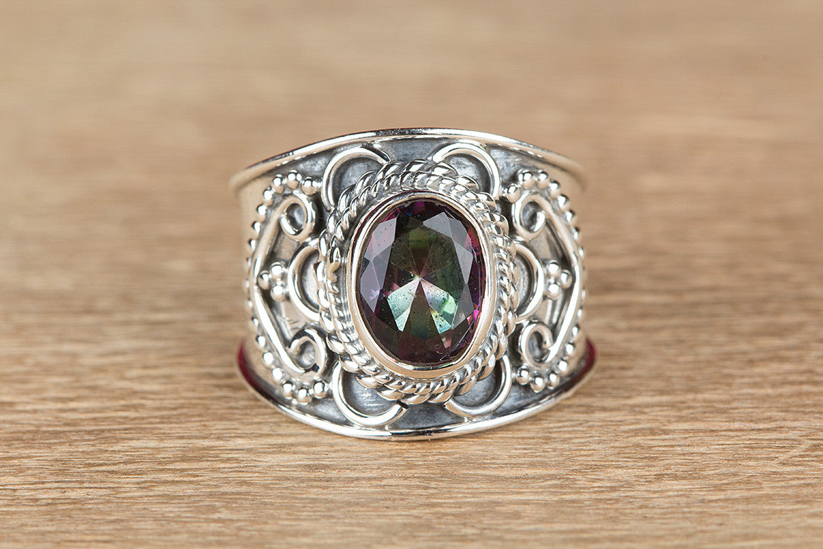 Beautiful Mystic Topaz Gemstone 925 Silver Ring