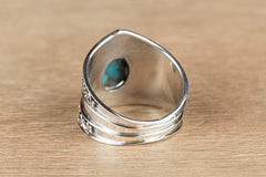 Wonderful Blue Copper Turquoise Gemstone 925 Silver Ring
