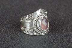 Beautiful Faceted Rose Quartz Gemstone 925 Silver Ring