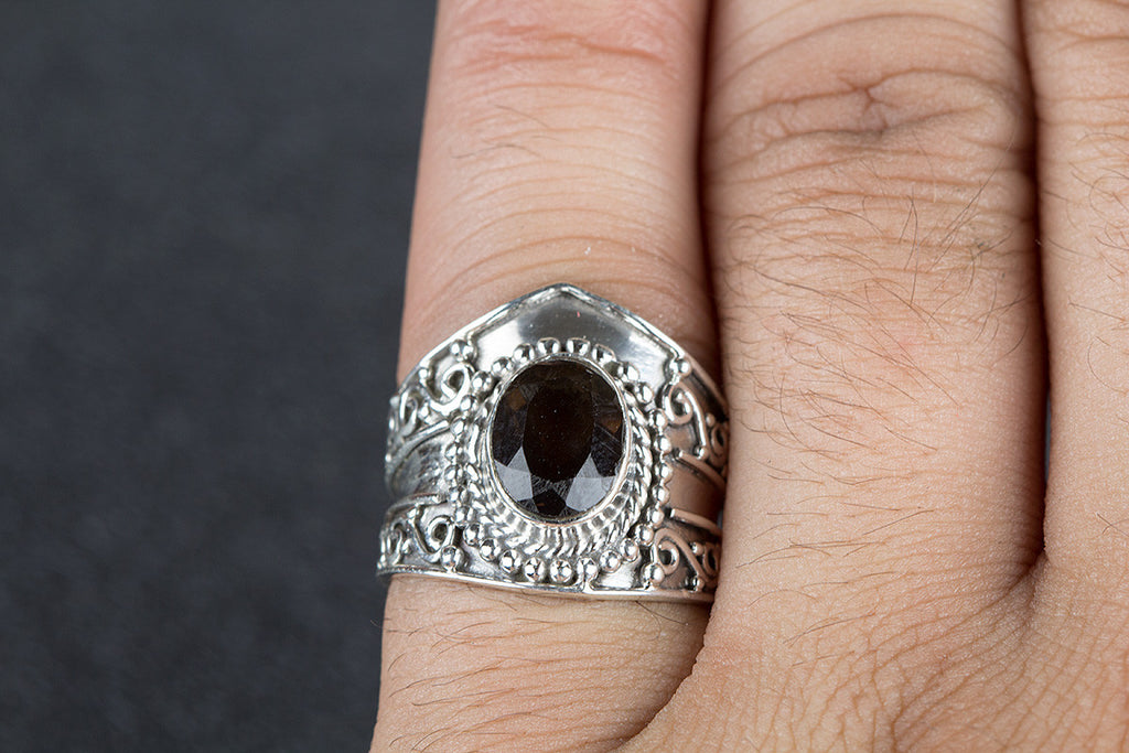 Beautiful Faceted Smoky Quartz Gemstone 925 Silver Ring