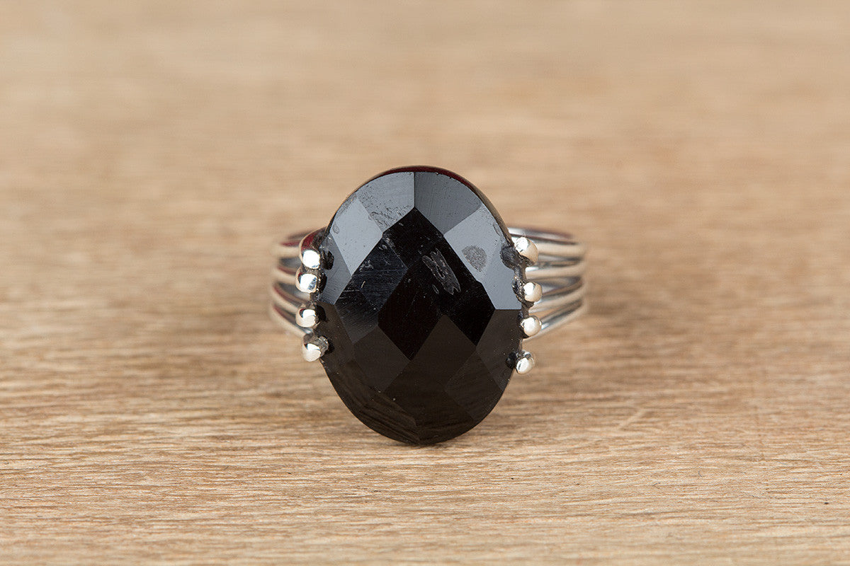 Unique 925 Silver Faceted Black Onyx Gemstone Ring