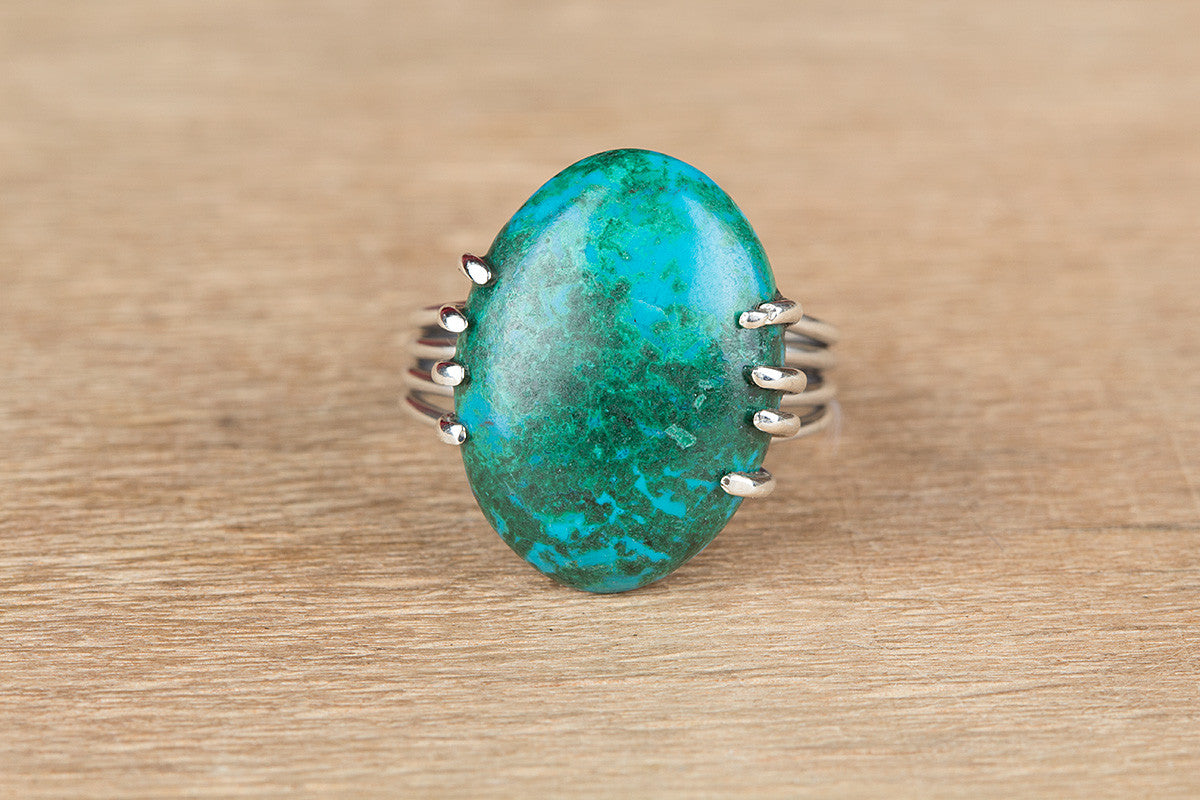 Unique 925 Silver Chrysocolla Gemstone Ring