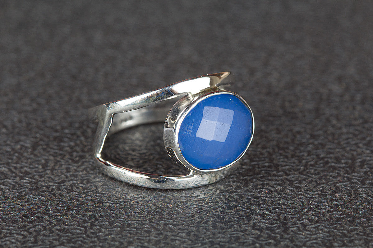 Beautifull Handmade 925 Silver Faceted Blue Chalcedony Gemstone Ring