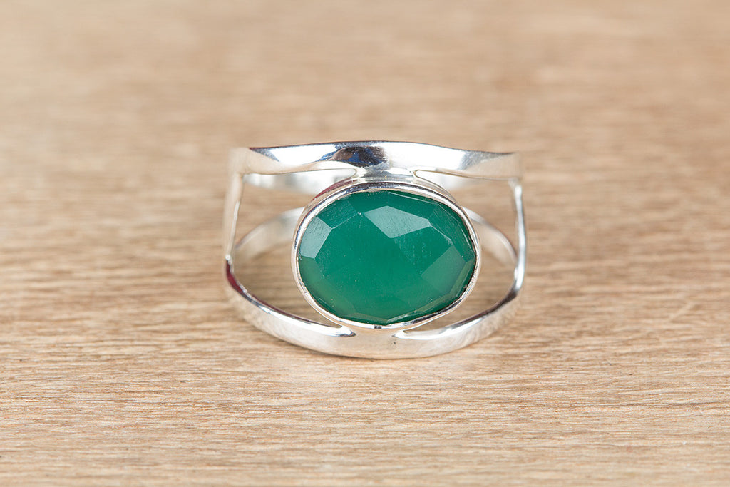 Beautifull Handmade 925 Silver Faceted Green Onyx Gemstone Ring