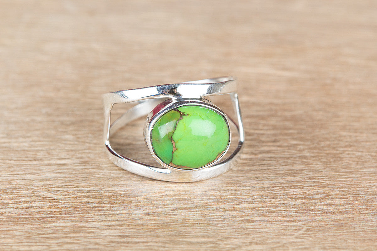 Handmade 925 Silver Green Turquoise Gemstone Ring