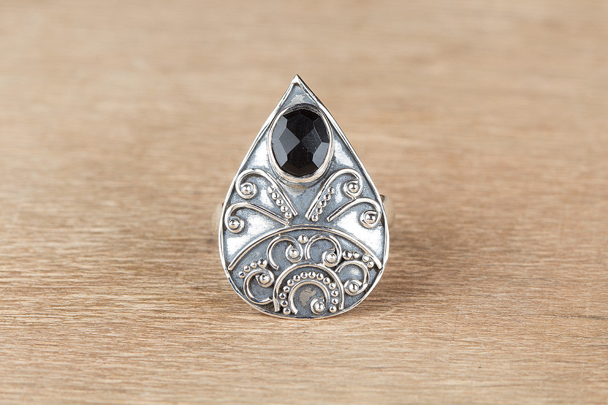 Stunning Handmade 925 Silver Faceted Black Onyx Gemstone Ring