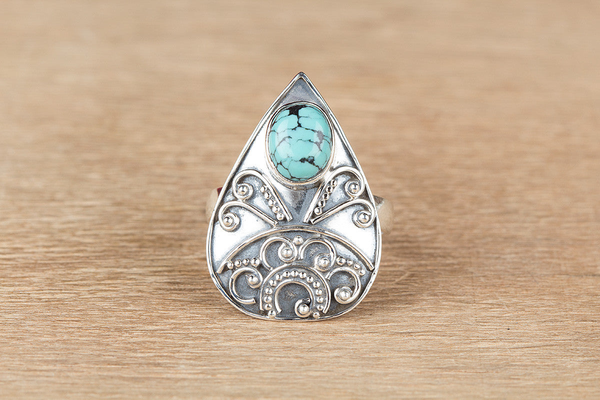 Amazing 925 Silver Natural Turquoise Gemstone Ring