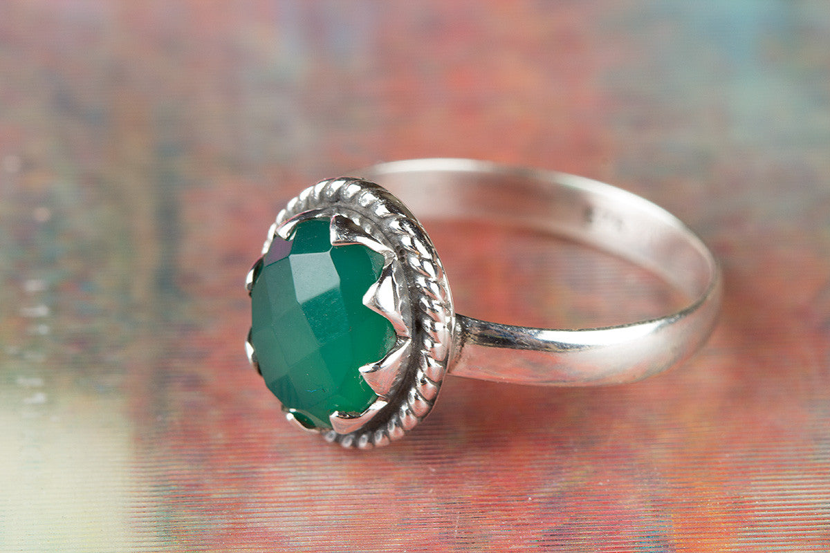 Faceted Green Onyx Gemstone 925 Silver Ring
