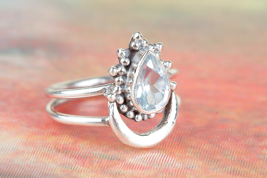 Precious 925 Sterling Silver Blue Topaz Gemstone Ring