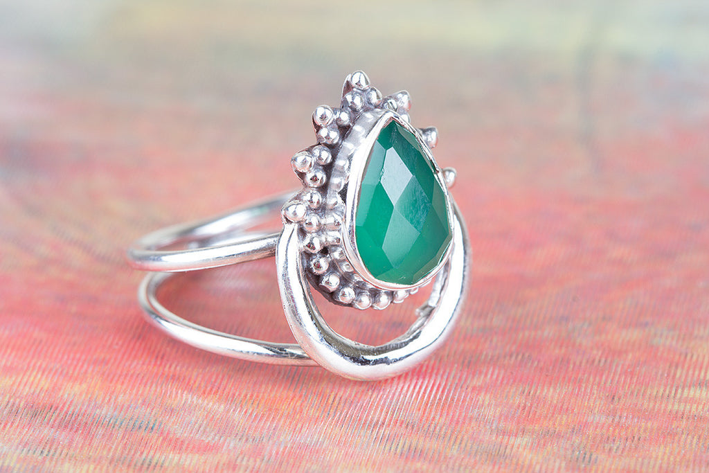 Healing 925 Sterling Silver Faceted Green Onyx Gemstone Ring