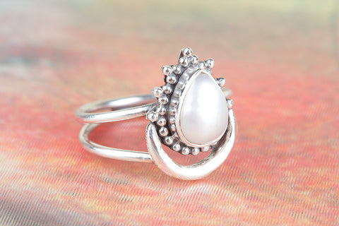 Amazing 925 Sterling Silver Pearl Gemstone Ring
