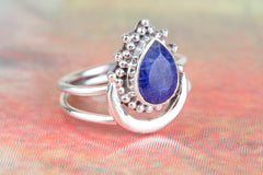 Unique 925 Sterling Silver Sapphire Gemstone Ring