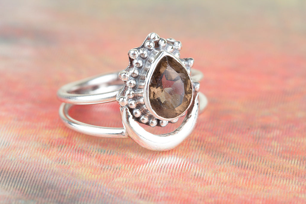 Gorgeous 925 Sterling Silver Faceted Smoky Quartz Gemstone Ring