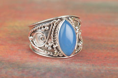 Unique 925 Sterling Silver Blue Chalcedony Gemstone Ring