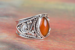 Genuie 925 Sterling Silver Carnelian Gemstone Ring