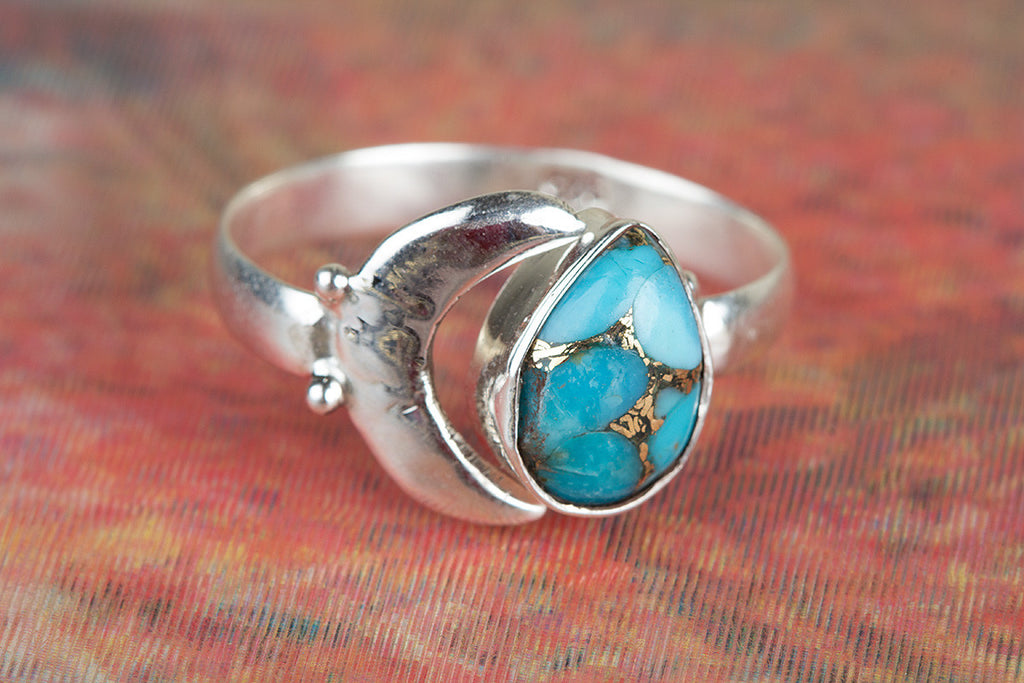 Awesome 925 Sterling Silver Blue Copper Turquoise Gemstone Ring