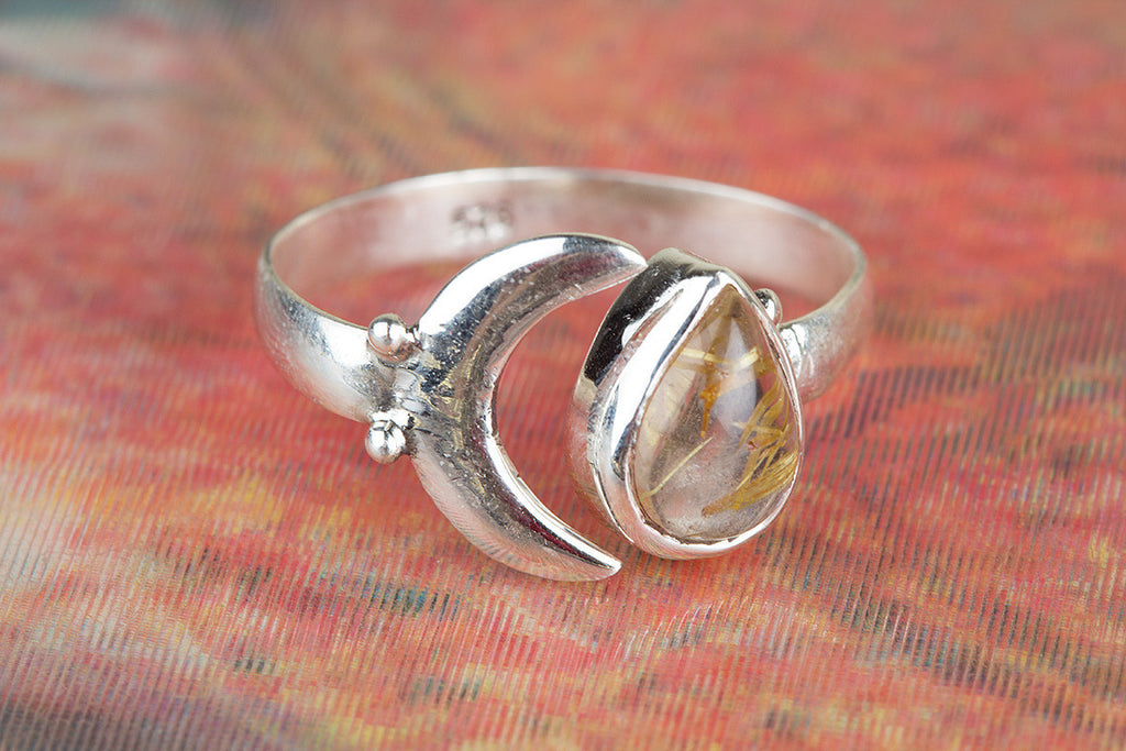 Gorgeous 925 Sterling Silver Golden Rutile Gemstone Ring