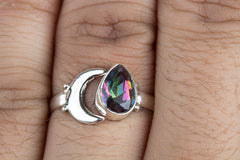 Lovely 925 Sterling Silver Mystic Topaz Gemstone Ring
