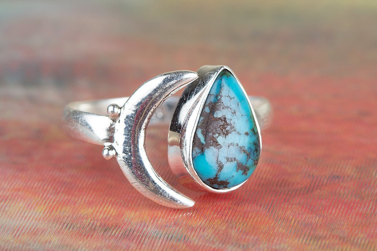 Healing 925 Sterling Silver Natural Turquoise Gemstone Ring