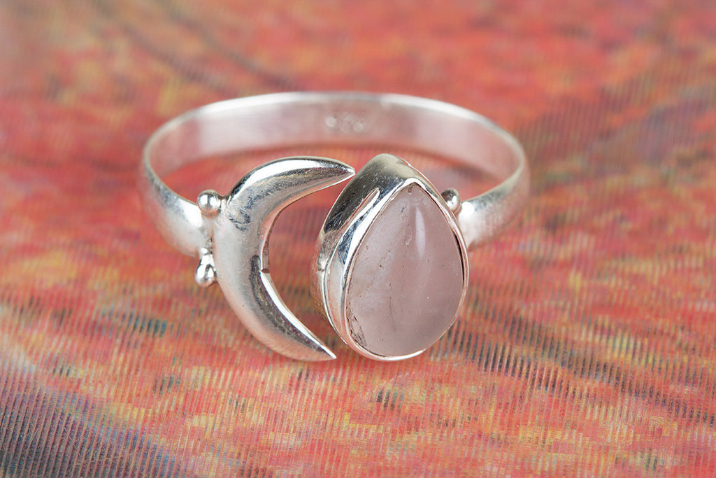 Fantastic 925 Sterling Silver Rose Quartz Gemstone Ring