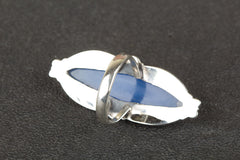 Fashionable 925 Sterling Silver Blue Chalcedony Gemstone Ring