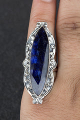 Charming 925 Sterling Silver Sapphire Gemstone Ring