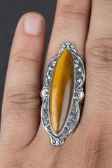 Genuie 925 Sterling Silver Tiger Eye Gemstone Ring