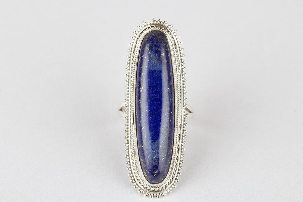 Gorgeous 925 Sterling Silver Lapis lazuli Gemstone Ring